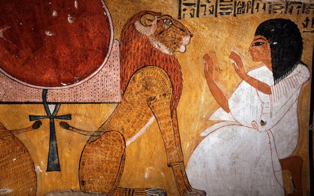 Tomb of Inherkhau showing him kneeling before the lion of Akheru, Deir el-Medina, West Bank, Luxor, Egypt